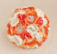 Brooch bouquet. Ivory, Yellow, Orange and Silver wedding brooch bouquet, Jeweled Bouquet.