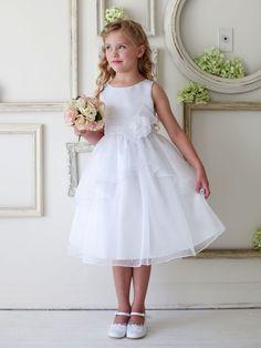 Amazing White Satin Dress with Organza Overlay Skirt