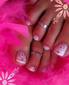 discuter nail art double french nail art pieds x 614 Toenail Art Designs, Pedicure Designs, Pedicure Nail Art, Toe Nail Art, Diy Nails, French Pedicure, Toe Designs, Mani Pedi, Gel Nail