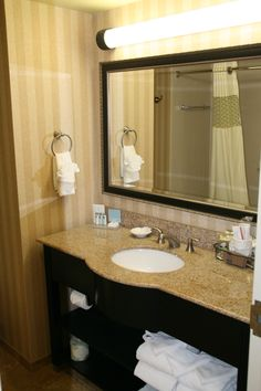 The Hampton Inn Monroeville has plenty of room in the bathroom with new granite counter tops and curved shower heads in the bathrooms. If you need a hotel in Monroeville (Pittsburgh) we are happy to have you. http://pinterest.com/hamptoninnmonro/ #hamptoninnmonroeville http://www.facebook.com/#!/HamptonInnMonroeville