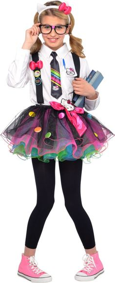 Girls Hello Kitty Nerd Costume - Party City