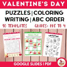 HAPPY VALENTINE'S DAY: PUZZLES/ABC ORDER/WORD SEARCH/ WRITING/DIGITAL