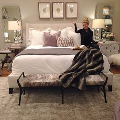 Designed my bedroom today at work. Chic, clean, and a touch of barbie's dream…
