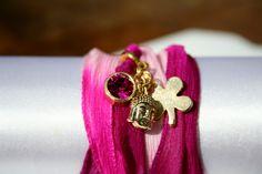 Armband van zijden lint ook als ketting te dragen