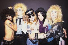 LR Slash Duff McKagan Axl Rose Izzy Stradlin and Steven Adler of the rock group 'Guns n' Roses' pose for a portrait in October 1985 in Los Angeles...