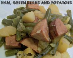 Crockpot Ham, Green Beans and Potatoes (add more seasonings for flavor, recipe only calls for pepper)