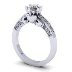 Combines the regular engagement ring with the claddagh in a way I love! Put a cushion cut diamond on top! I would so totally want this! Irish Wedding Rings, Irish Rings, Diamond Wedding Rings, Diamond Engagement Rings, Solitaire Rings, Wedding Ring Cushion, Cushion Ring, Cushion Cut, Beautiful Engagement Rings
