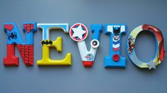 Wood letters marvel Retrouvez cet article dans ma boutique Etsy https://www.etsy.com/ca-fr/listing/257799887/lettres-murales-en-bois-avengers