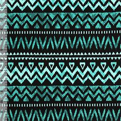 Teal Black Ethnic Rows Cotton Spandex Blend Knit Fabric