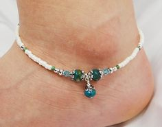Anklet Ankle Bracelet Turquoise Blue Green Agate with