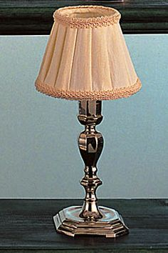 Silver Mini Lamp with Fabric Shade