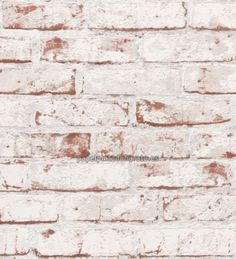 Papel pintado imitacion ladrillo visto esconchado blanco 9078-13