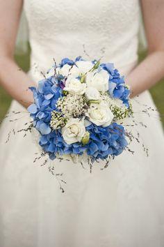Wedding Flowers - Blue Hydrangeas and Rose Bouquet
