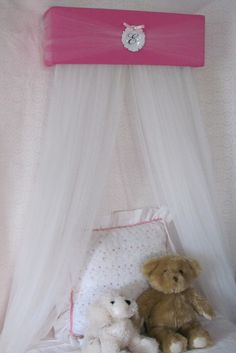 Princess Crown Bed Canopy Valance SaLe Pink White FRAME Padded Upholstered bedroom decor cornice teester coronet & BeD CaNoPy Crib WHITE Pink Tulle Princess Ballet Upholstered Drape ...
