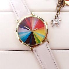 Color Wheel Watch Leather Watchband Unisex Wrist Watch For Men Lady Retro Round Quartz White