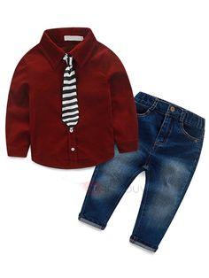 8f9c4dbed9be Fashion Corduroy Stripe Tie Worn Two-Piece Boys  Outfit