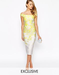 True+Violet+Bardot+Pencil+Dress+With+Ombre+Floral+Print