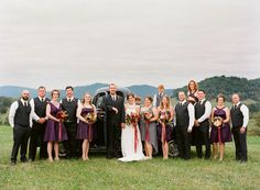 plum, red, and gray bridal party   Jen Fariello #wedding