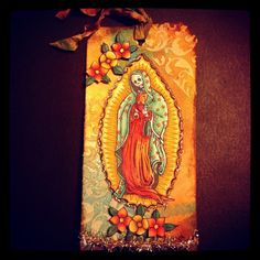 Madonna Woodcut Day of the Dead tag