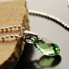 Peridot crystal Pendant on sterling silver chain, August Birthstone