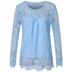 Fashion Story Women Lace Crochet Chiffon Sleeve Flower Autumn Top... (22 PEN) ❤ liked on Polyvore featuring tops, blouses, crochet blouse, blue lace shirt, flower shirt, chiffon shirt and lace sleeve shirt