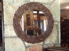 καθρέπτης με κορμούς ξύλου στρόγγυλος