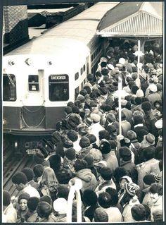 Crowded platform at Belmont, 1979, Chicago.