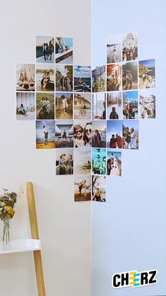 Print_DIY_Coeur_Portrait - Tons of photos on your smartphone? Print them now directly from your mobile 😍📸 - Collage Mural, Photo Wall Collage, Creative Wall Decor, Creative Walls, Creative Ideas, Collage Des Photos, Collage Pictures, Wall Photos, Pinterest Room Decor