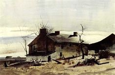 Andrew Newell Wyeth - Artist, Fine Art Prices, Auction Records for Andrew Newell Wyeth Andrew Wyeth Paintings, Andrew Wyeth Art, Jamie Wyeth, Landscape Art, Landscape Paintings, Nc Wyeth, T Art, Global Art, American Artists