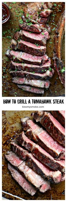 How to Cook a Tomahawk Steak from kissmysmoke.com. Tomahawk steak is meant for reverse searing on the grill. It will ensure the a juicy, tender steak every time. Every bite is sheer perfection! #grill #tomahawk