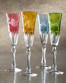 varga crystal springtime champagne flutes