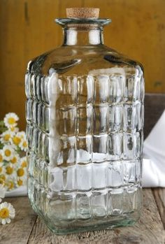 Decorative Embossed Glass Bottle