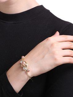 Rhinestone Faux Pearl Cuff Bracelet #shoes, #jewelry, #women, #men, #hats, #watches, #belts