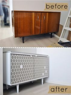 Before & After: Dresser Makeover using Fabric, Shoe Leather and Concrete