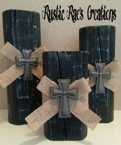 Rustic wood candle holders with burlap ribbon and cast iron cross on Etsy, $55.00