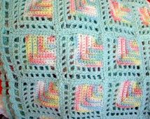Baby Afghan Mint Green Sparkle Granny Square Mitered Blocks Pastel Crochet