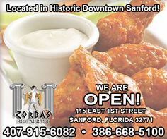 We pride ourselves on not using processed products. This makes all of our food fresh and delicious including our chicken wings. There's nothing like a basket of chicken wings. Try hot, BBQ, or Teriyaki, served with our blue cheese or ranch dressing.  We are so happy to finally be open in the historic, beautiful downtown Sanford for our new Seminole County friends and our loyal Volusia county friends! zorbasgreekfood.com | 115 East First, St., Sanford, FL | (407) 915-6082…