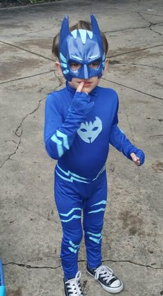 7803c9abd DIY PJ Masks Catboy costume - Blue kids unitard with felt Catboy symbol  stripes glued on