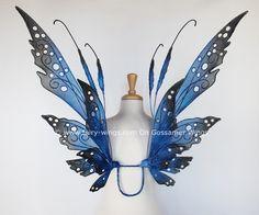 The Elizabeth fairy wings in blues and black by On Gossamer Wings