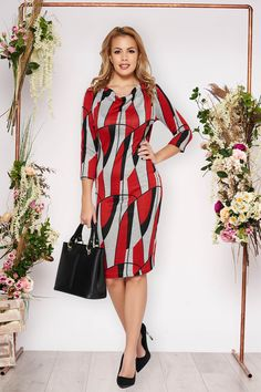 Rochie StarShinerS rosie de zi cu un croi mulat din material tricotat cu maneci trei-sferturi Casual Chic, Dresses With Sleeves, Long Sleeve, Floral, Shopping, Fashion, Jean Dress Outfits, Vestidos, Casual Dressy
