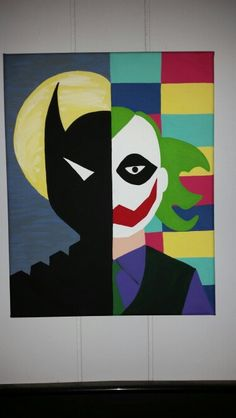 Batman & The Joker. Hand drawn then painted with acrylics - Site Title Disney Canvas Paintings, Easy Paintings, Joker Art, Batman Art, Batman Painting, Mini Canvas Art, Hand Painted Rocks, Hand Drawn, Cartoon Art