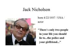 """April the 22nd...Jack Nicholson scares me everytime I see him on the screen...with 12 Academy Award Nominations he ist the most nominated male actor in the history...he won two """"Best Actor"""" and one """"Best Supporting Actor"""" Oscars..."""