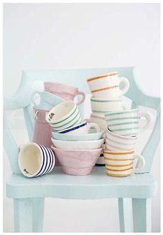 Pastel stripped espresso cups, we'll take them all!