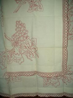Antique Victorian Turkey Redwork Embroidery Sham Pillow Topper Grape Motif - The Gatherings Antique Vintage