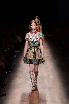 Valentino Spring/Summer 2015 Ready to Wear: Floral Shantung Silk Dress in Patchwork Crepe de Chine