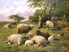 animals painting | ... Painting Styles on Canvas>Animals>sheep and deer>5am104D13 animal