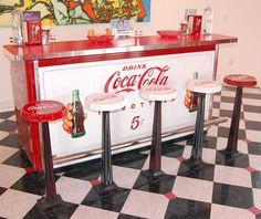 antique coca cola bar and stools...I want this!!