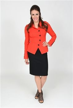This Laurel jacket is a classic lipstick red color. The black, disc shaped buttons add interest to the jacket, transforming it into a modern day must have! This jacket is deconed with seam detailing for a nice added touch, and strays away from the mold of a modern suit jacket with the triangular front hem. You will be deemed stylish woman of the year in this jacket. Pair it on top of a form fitting black dress or with an a-line skirt for a more flirty look.