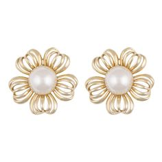 Vintage - Gold Flower Earrings - Earrings ❤ liked on Polyvore featuring jewelry, earrings, accessories, jewels, vintage jewelry, gold earrings, yellow gold jewelry, flower jewellery and vintage gold earrings