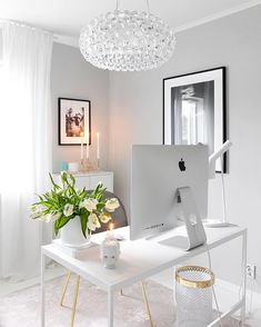 feminine home office. Home office ideas Home Office Space, Home Office Design, Home Office Decor, House Design, Home Decor, Office Spaces, Office Decorations, Office Chic, Office Ideas